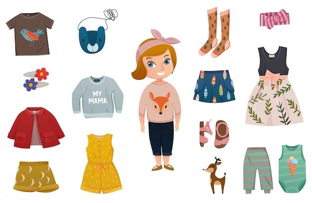 Baby meisje mode icon set Gratis Vector