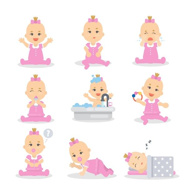 Baby meisje set. leuk kind in roze slapen, spelen en eten. Premium Vector