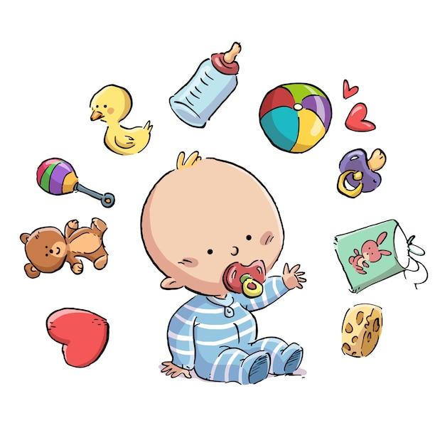 Baby met fopspeen omringd door speelgoed Premium Vector