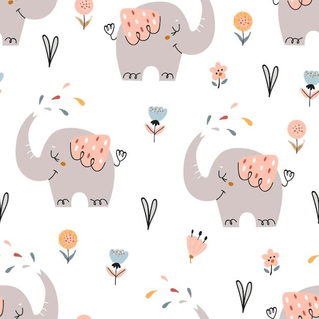 Baby naadloze patroon met schattige olifanten. patroon voor slaapkamer, behang, kinder- en babykleding. Premium Vector
