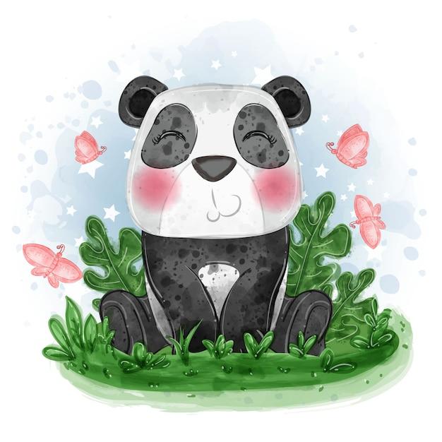 Baby panda schattige illustratie gaan zitten op het gras met vlinder Gratis Vector