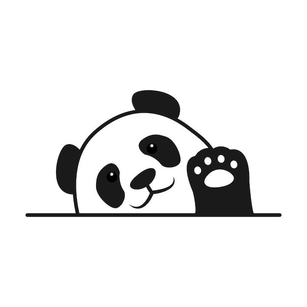 Baby panda zwaaien poot cartoon Premium Vector
