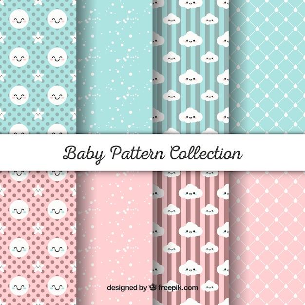 Baby patronen collectie in vlakke stijl Gratis Vector