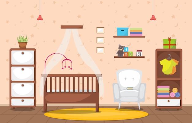 Baby peuter kinderen slaapkamer interieur kamermeubilair Premium Vector