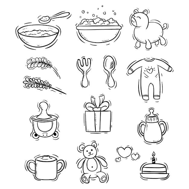 Baby pictogrammen collectie met doodle stijl Premium Vector