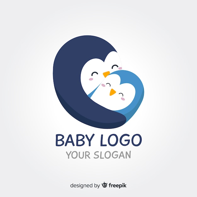 Baby pinguïn logo Gratis Vector