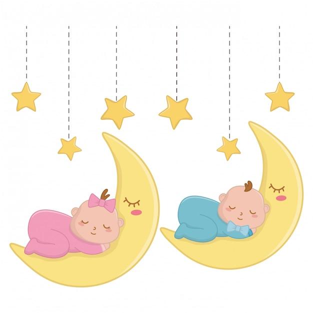 Baby's die over de maanillustratie slapen Premium Vector