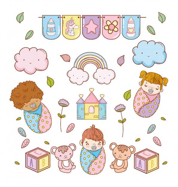 Baby's en schattige speelgoeddecoratie aan babydouche Premium Vector