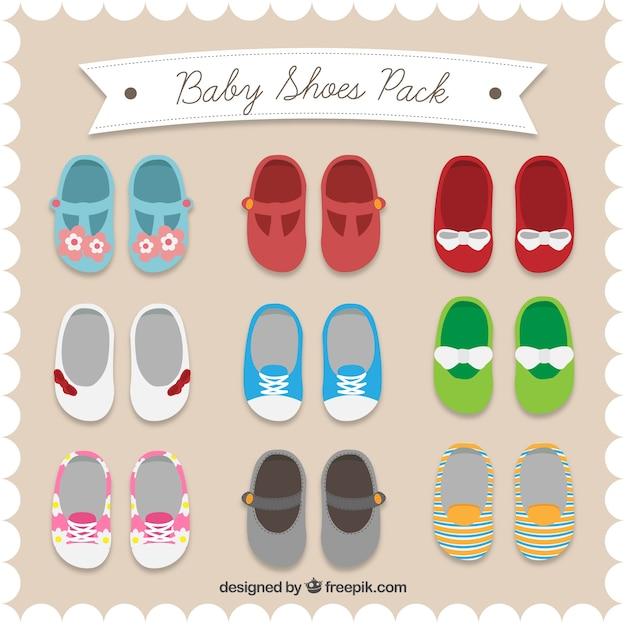 Baby schoenen inpakken Premium Vector