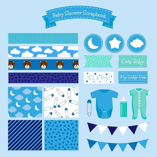 Baby shower blauwe plakboek set Gratis Vector
