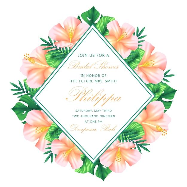 Baby shower bloemen uitnodiging Premium Vector