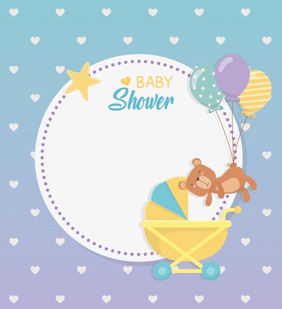 Baby shower circulaire kaart met beer teddy in baby winkelwagen Gratis Vector
