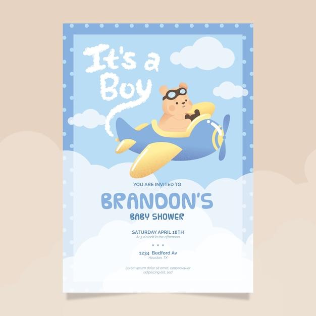 Baby shower geïllustreerde uitnodigingssjabloon voor babyjongen Gratis Vector