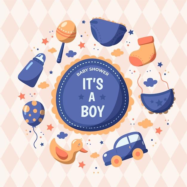 Baby shower jongen illustratie Gratis Vector