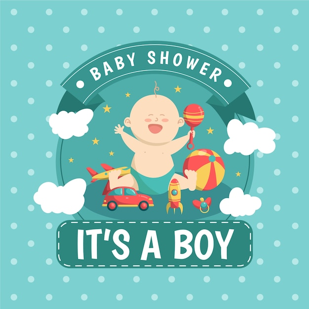 Baby shower jongen illustratie Gratis Vector