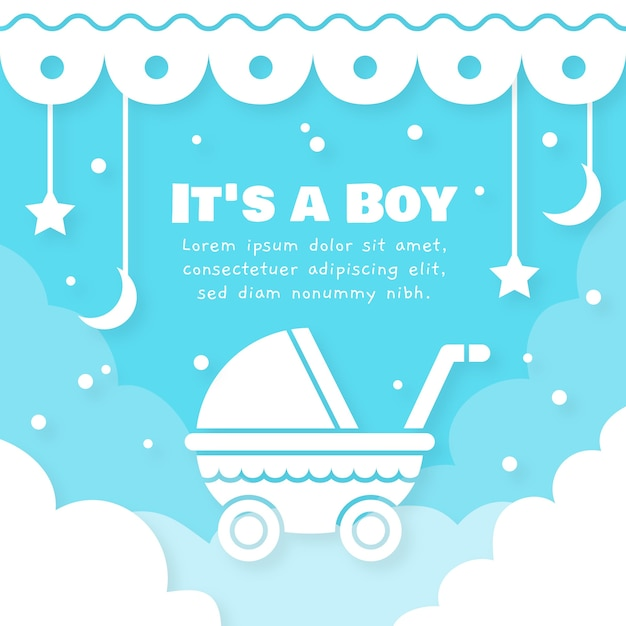 Baby shower jongen illustratie Premium Vector