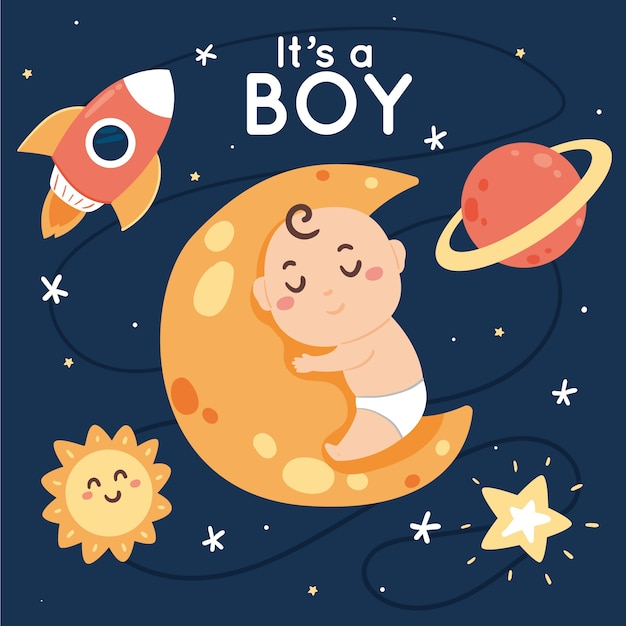 Baby shower jongen ontwerp Premium Vector