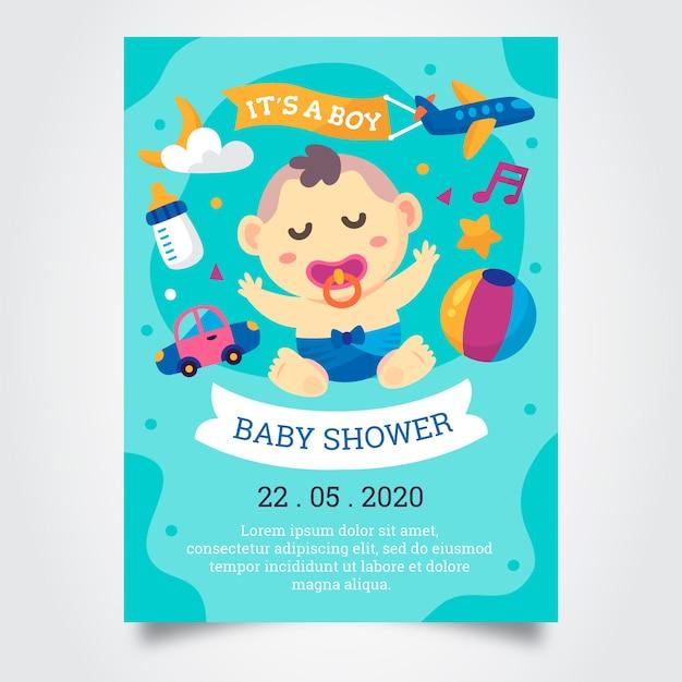 Baby shower jongen uitnodiging sjabloon Premium Vector