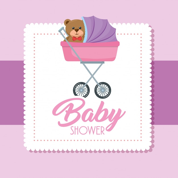 Baby shower kaart met beer teddy in kar Gratis Vector