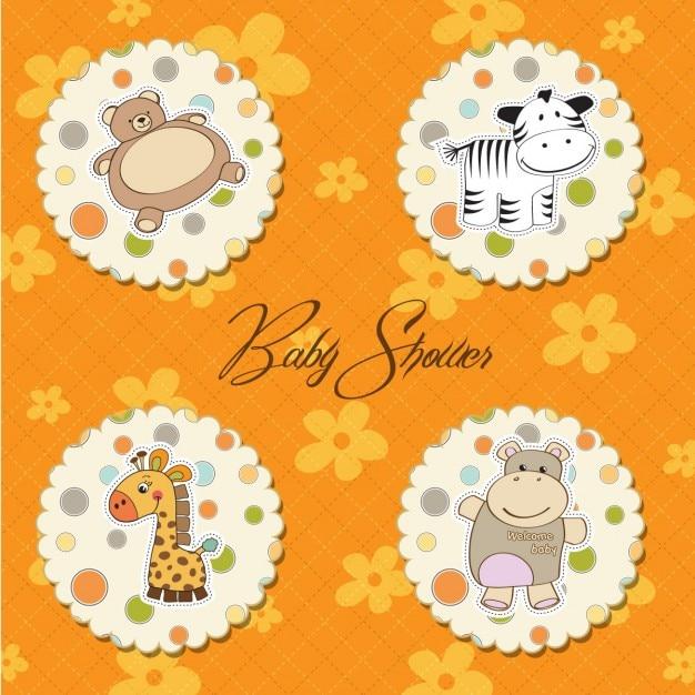 Baby shower kaart met grappige speelgoed Gratis Vector