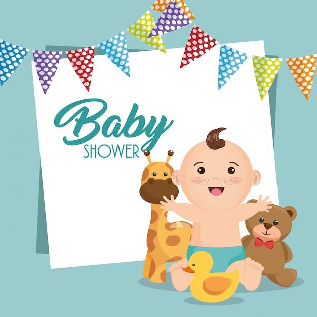Baby shower kaart met kleine jongen Gratis Vector