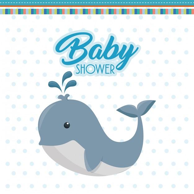 Baby shower kaart met schattige walvis Gratis Vector