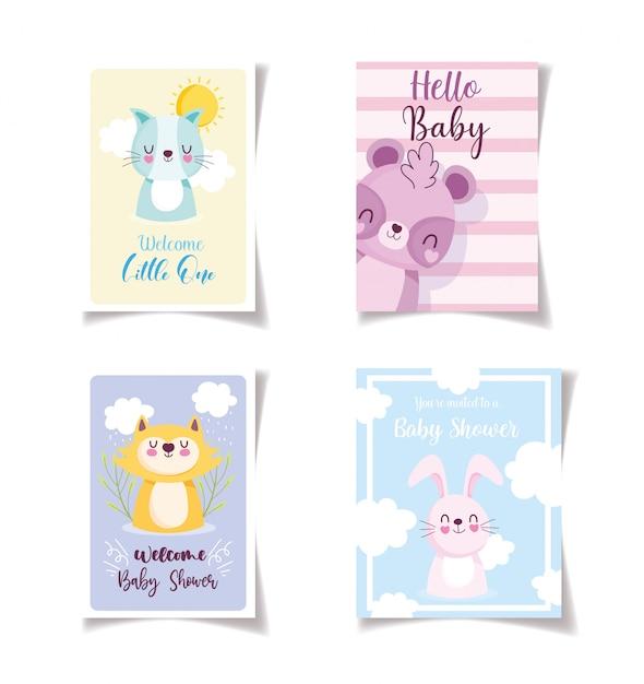 Baby shower kleine dieren viering kaarten, welkom uitnodigingssjabloon Premium Vector