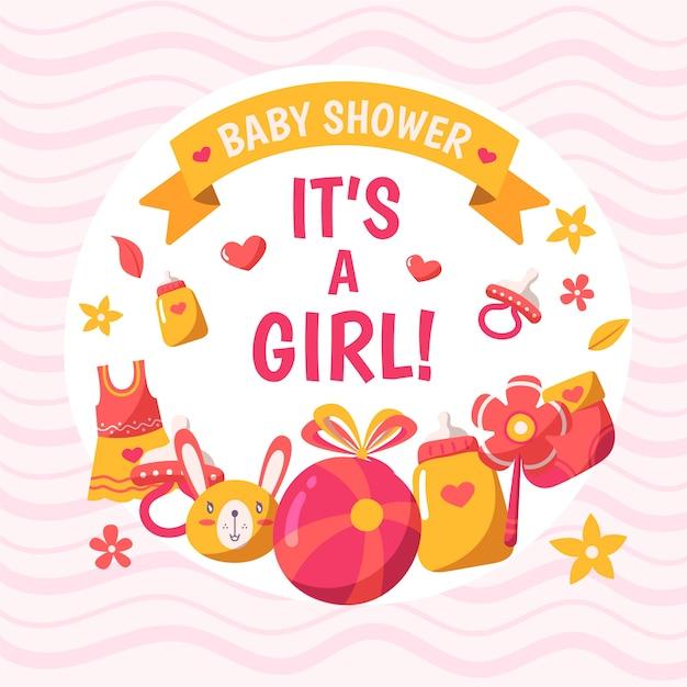 Baby shower meisje achtergrond Gratis Vector
