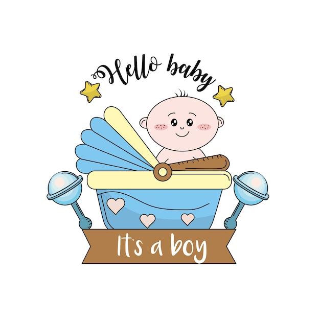 Baby shower om een kind in de familie te verwelkomen Premium Vector