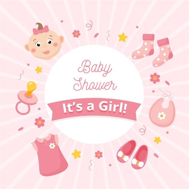 Baby shower onthullen voor meisje Gratis Vector