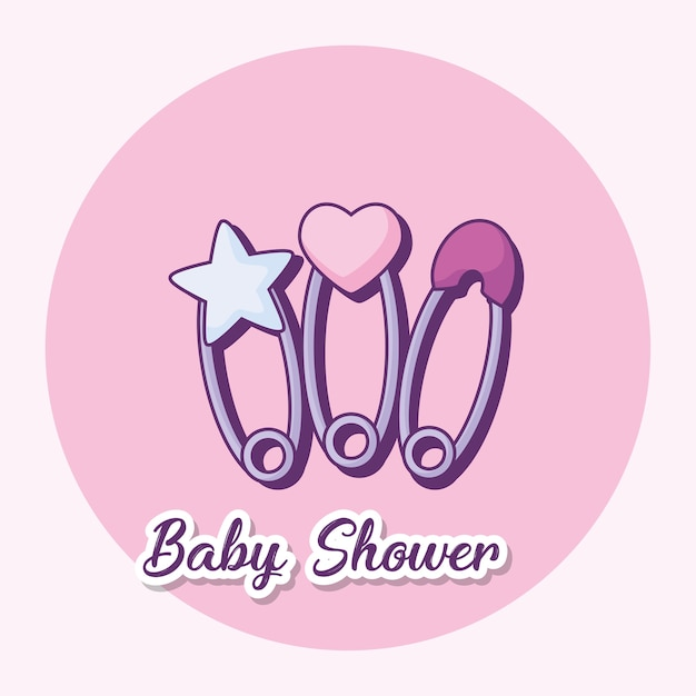 Baby shower ontwerp met baby pinnen pictogram Premium Vector