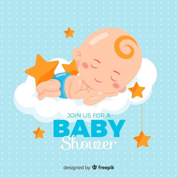 Baby shower ontwerp voor jongen Gratis Vector