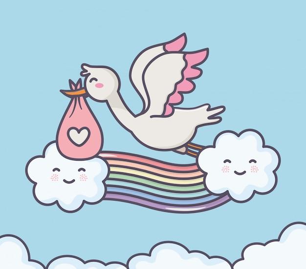 Baby shower ooievaar luier roze regenboog wolken hemel Premium Vector