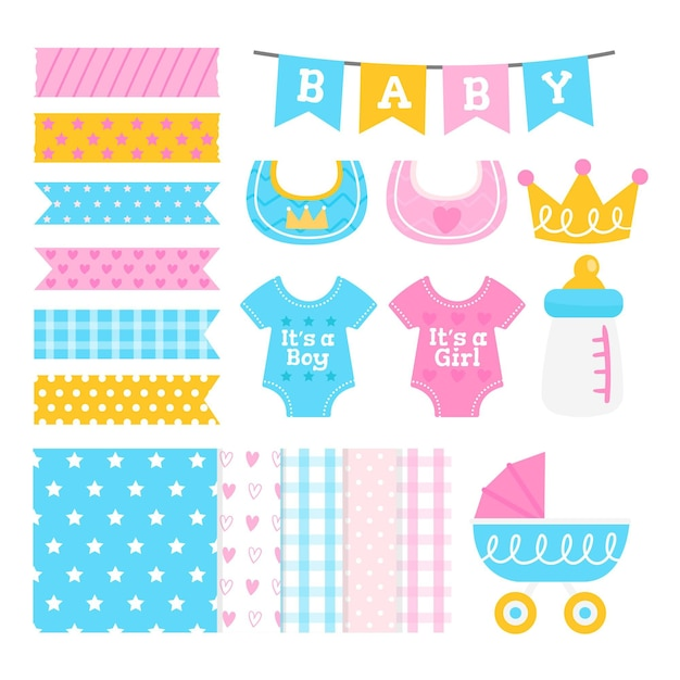 Baby shower schattig plakboek set Premium Vector