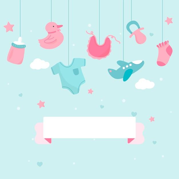 Baby shower thema kopie ruimte Gratis Vector