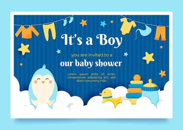 Baby shower uitnodiging concept Gratis Vector