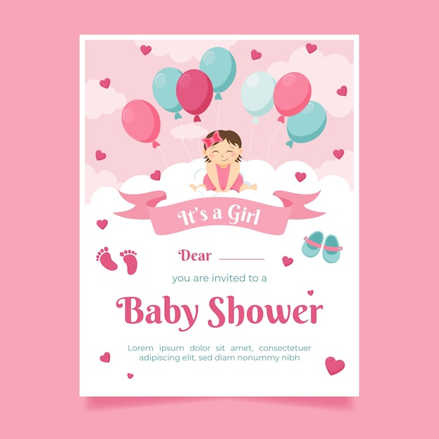 Baby shower uitnodiging concept Gratis Vector