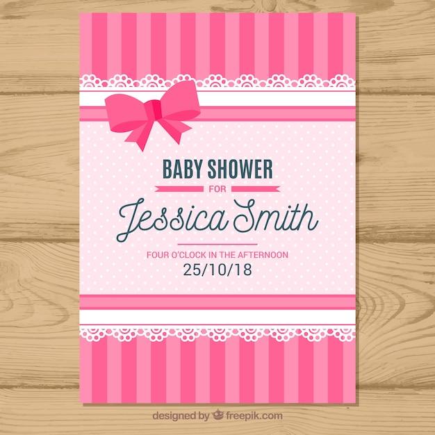 Baby shower uitnodiging in vlakke stijl Gratis Vector