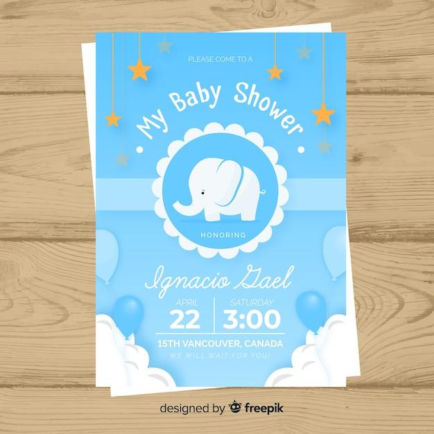 Baby shower uitnodiging kaartsjabloon Gratis Vector