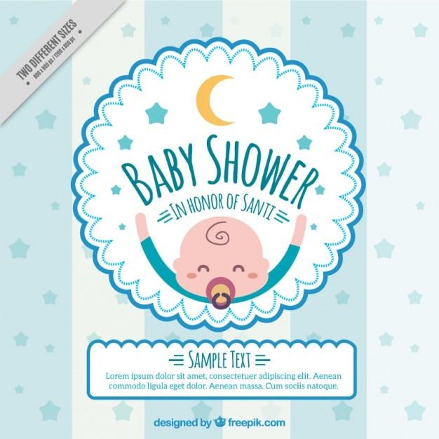Baby shower uitnodiging met een gelukkige baby Gratis Vector