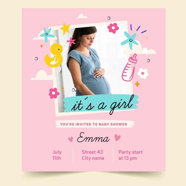 Baby shower uitnodiging met foto (meisje) Gratis Vector