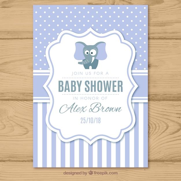 Baby shower uitnodiging met patroon in vlakke stijl Gratis Vector