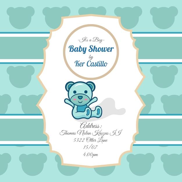 baby shower uitnodiging met teddybeer vector gratis download
