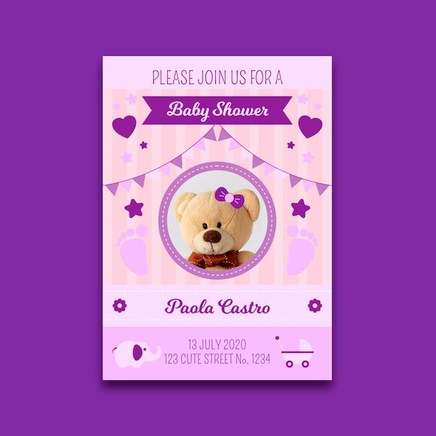 Baby shower uitnodiging sjabloon met foto voor meisje Gratis Vector