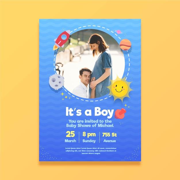 Baby shower uitnodiging sjabloon met foto Gratis Vector
