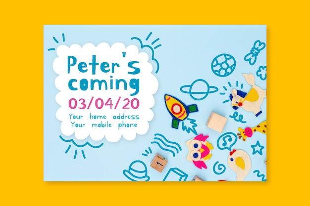 Baby shower uitnodiging sjabloon met foto Premium Vector