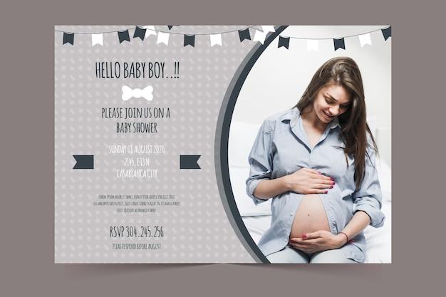 Baby shower uitnodiging sjabloon voor jongen concept Gratis Vector