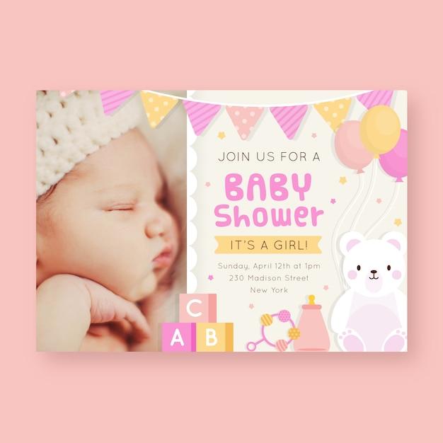 Baby shower uitnodiging sjabloon voor meisje Premium Vector