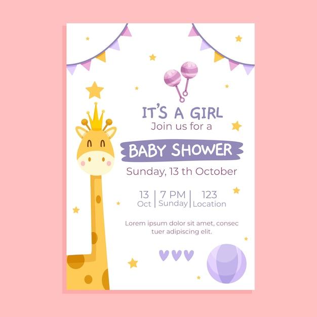 Baby shower uitnodiging sjabloon Gratis Vector