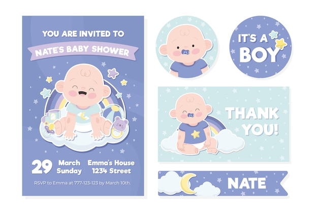 Baby shower uitnodiging sjabloon Gratis Vector